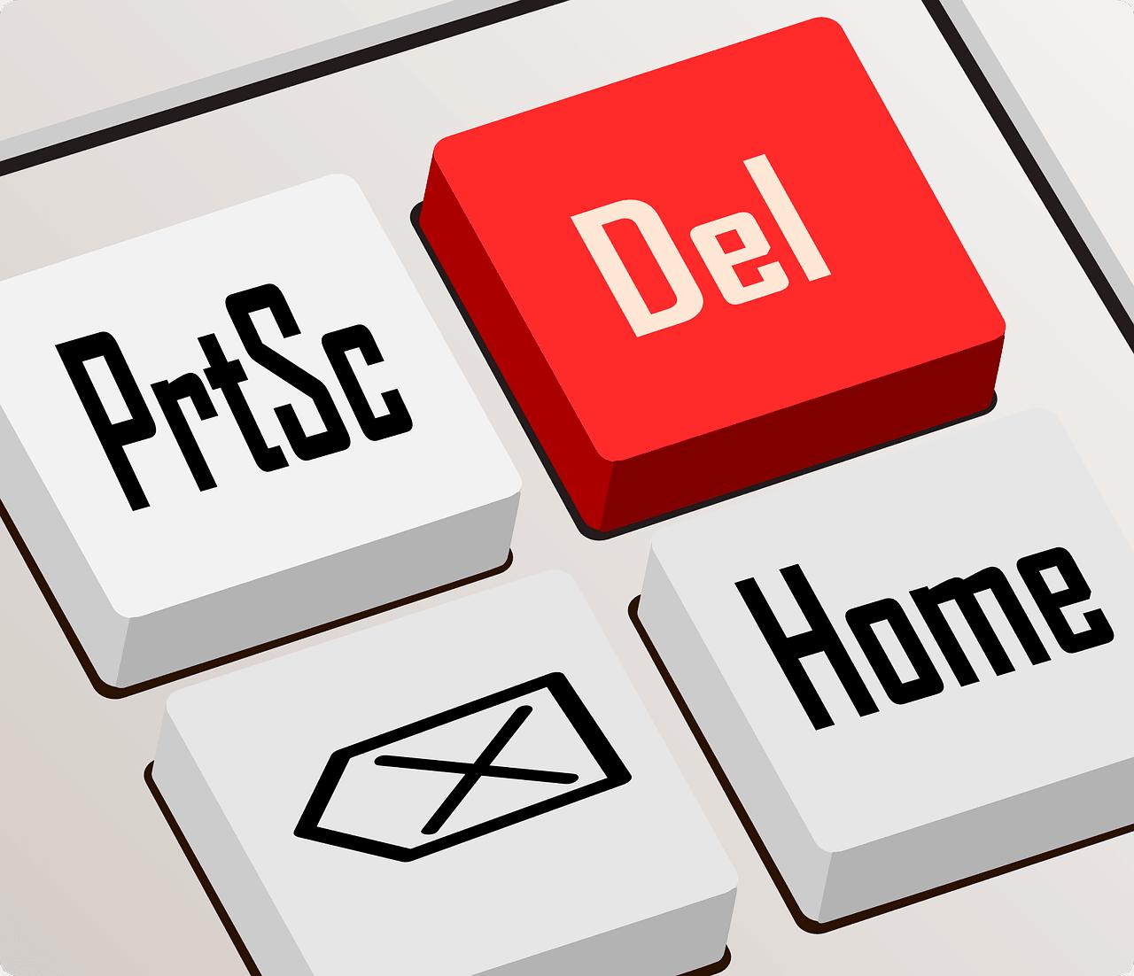 Animierte Tastatur mit roter löschen Taste