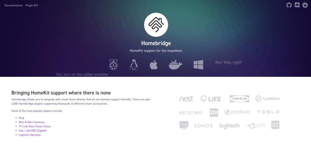Homebridge Screenshot der Webseite