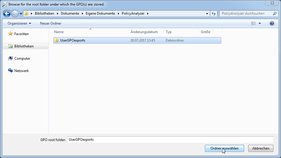 Ordner mit Exportierten GPOs zum bereinigen auswählen