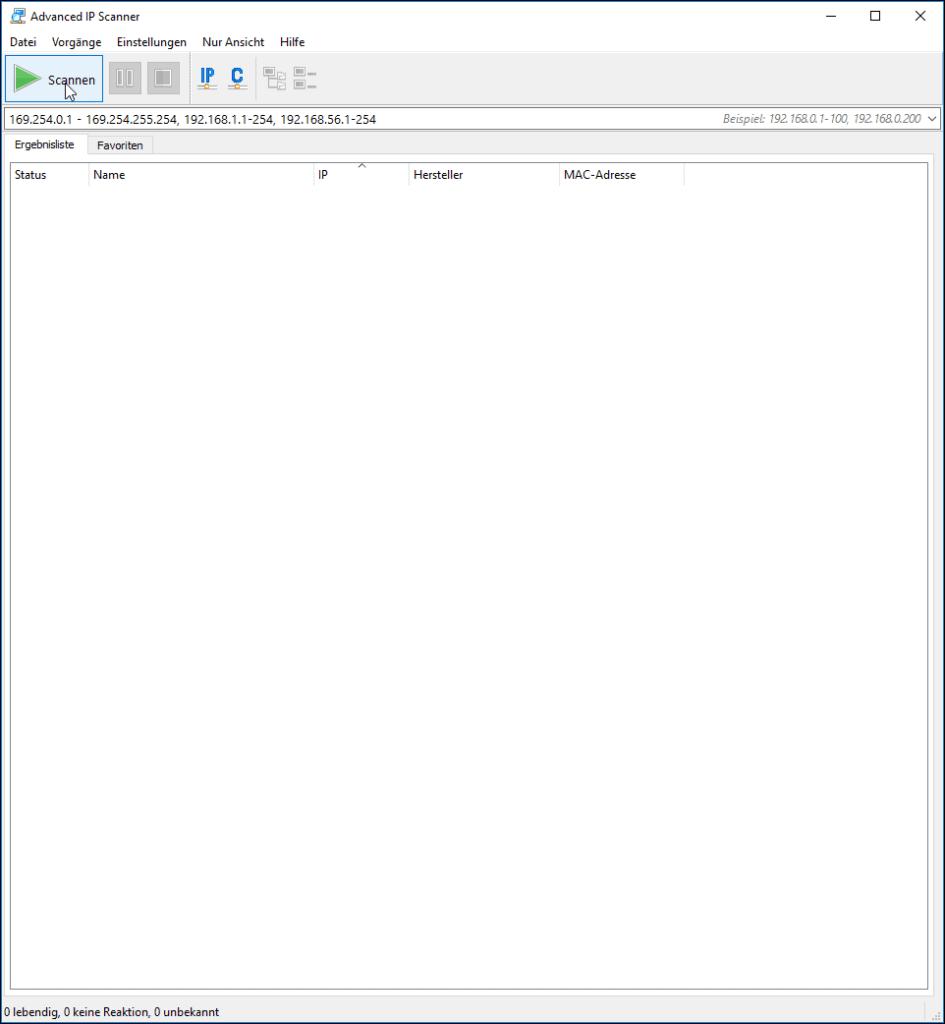 """Advanced IP Scanner Programmoberfläche mit Maus über Schaltfläche """"Scannen"""""""