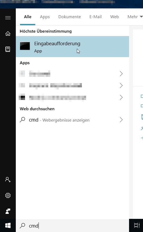Windows 10 Startmenü in dem nach CMD gesucht wurde
