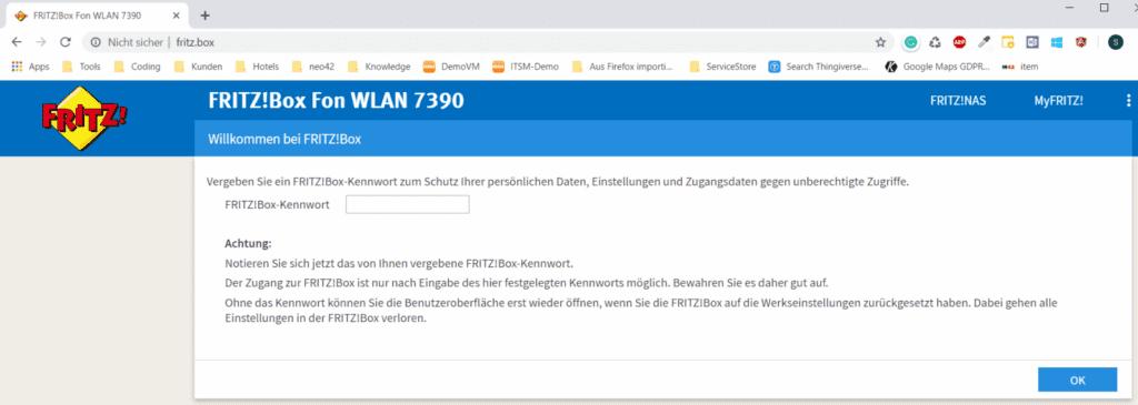 FritzBox wurde zurückgesetzt, ist wieder erreichbar und kann konfiguriert werden.