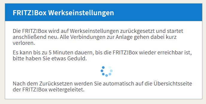 Fritz Box Weboberfläche ist im Chrome geöffnet und die Werkseinstellungen werden wiederhergestellt.