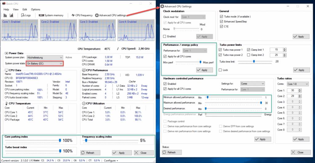 QuickCPU Einstellungen für Optimale Surface Performance bei Batteriebetrieb