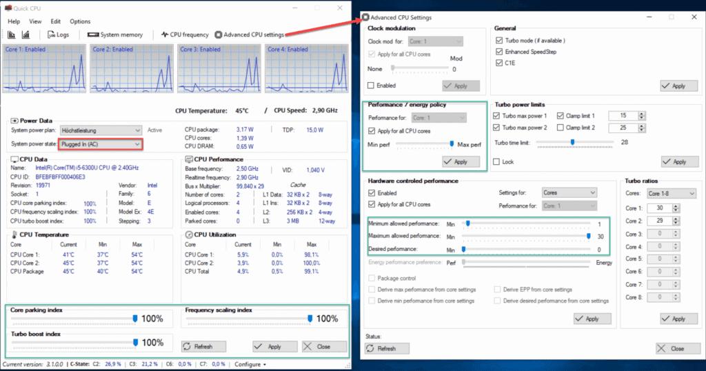 QuickCPU Einstellungen für Optimale Surface Performance bei Netzbetrieb