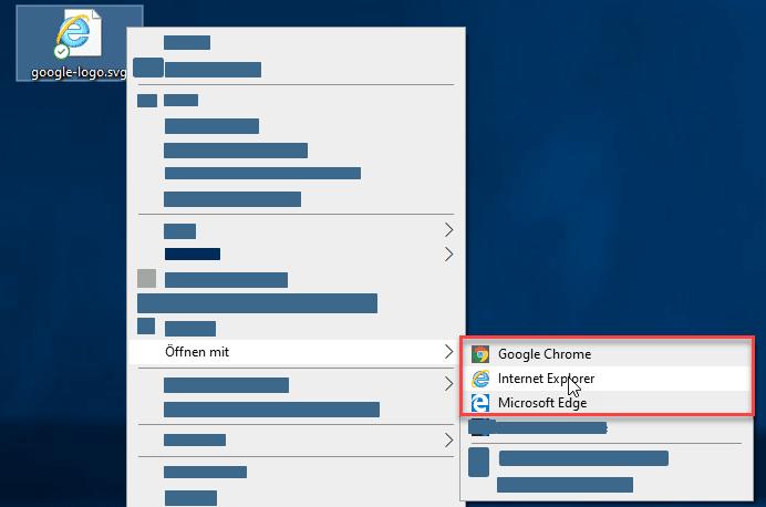 Windows Desktop mit Kontext Menü einer SVG Datei