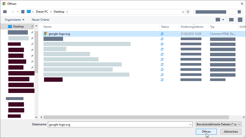 Auswahl der zu öffnenden SVG Datei im Windows explorer