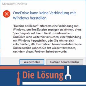 OneDrive kann keine Verbindung mit Windows herstellen Lösung