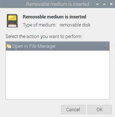 Raspbian Meldung, wenn SD-Karte eingesteckt wurde
