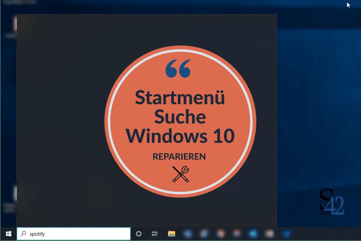 Win 10 Startmenü Suche schwarz (keine Ergebnisse)