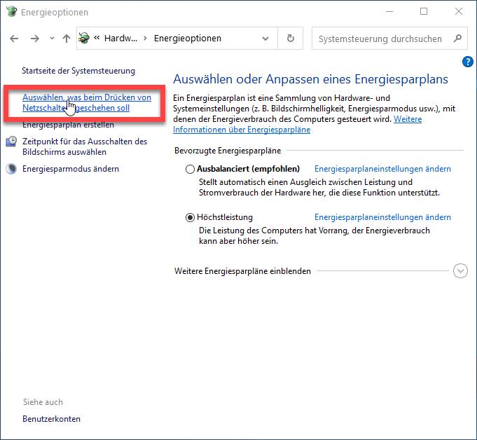 Windows 10 Netzschalter-Einstellungen öffnen