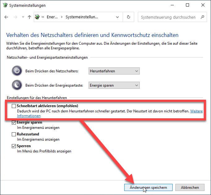 Windows 10 Schnellstart deaktivieren