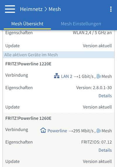 AVM Powerline Adapter in der FritzBox Oberfläche