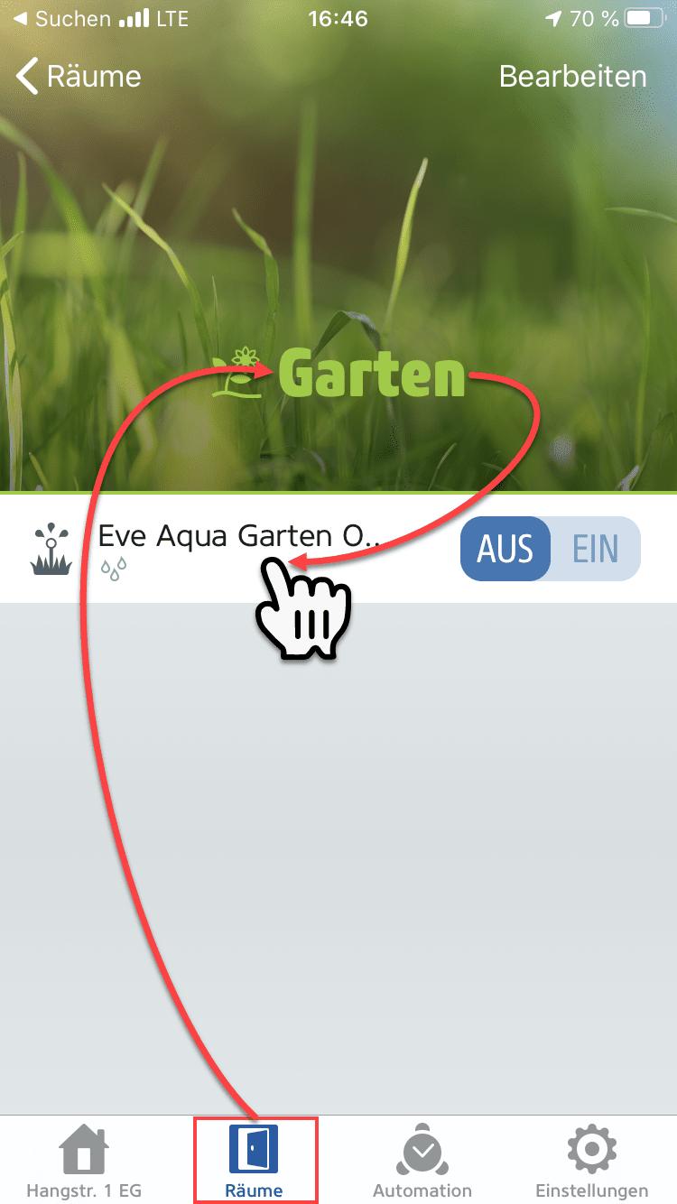 Eve Aqua in Räumen der Eve App suchen