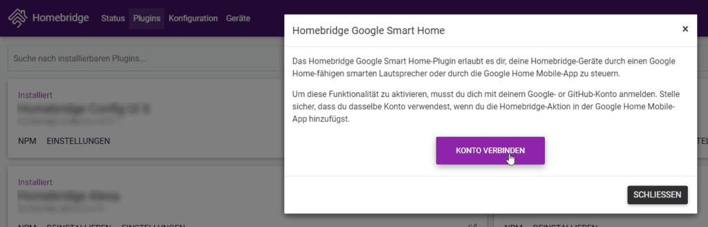 Google Account mit Homebridge verbinden