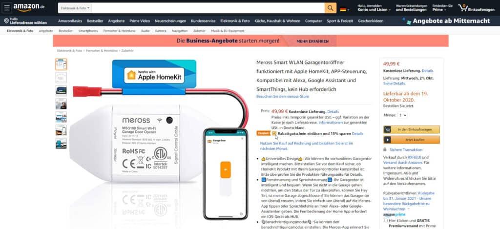 HomeKit Garagentoröffner von Meross mit Verkaufsstart-Rabatt