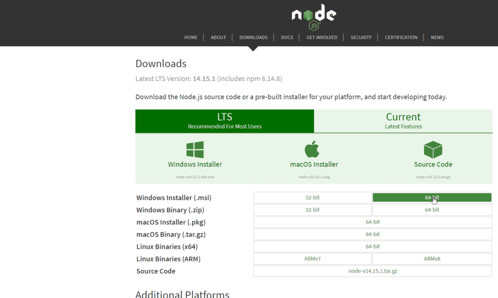 Tuya CLI Step 1 Download Node JS
