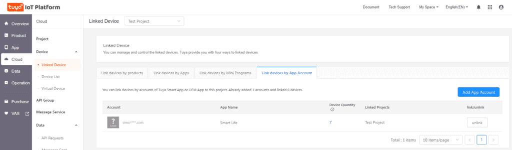 Tuya IOT Developer Account Step 12 Account Linked