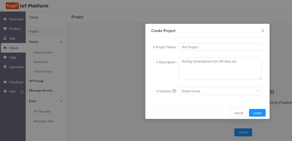 Tuya IOT Developer Account Step 2 Project Settings