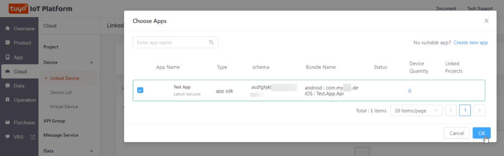 Tuya IOT Developer Account Step 8 Confirm App