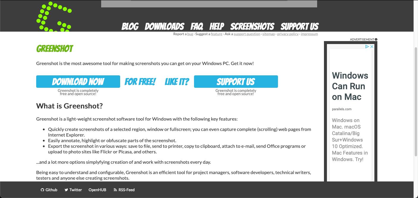 Greenshot Bildschirmaufnahmen Programm Webseite
