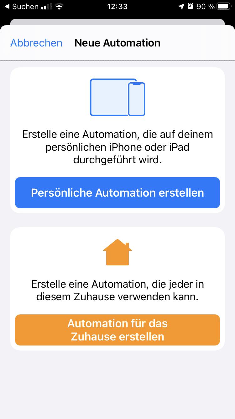 Kurzbefehle Automation erstellen