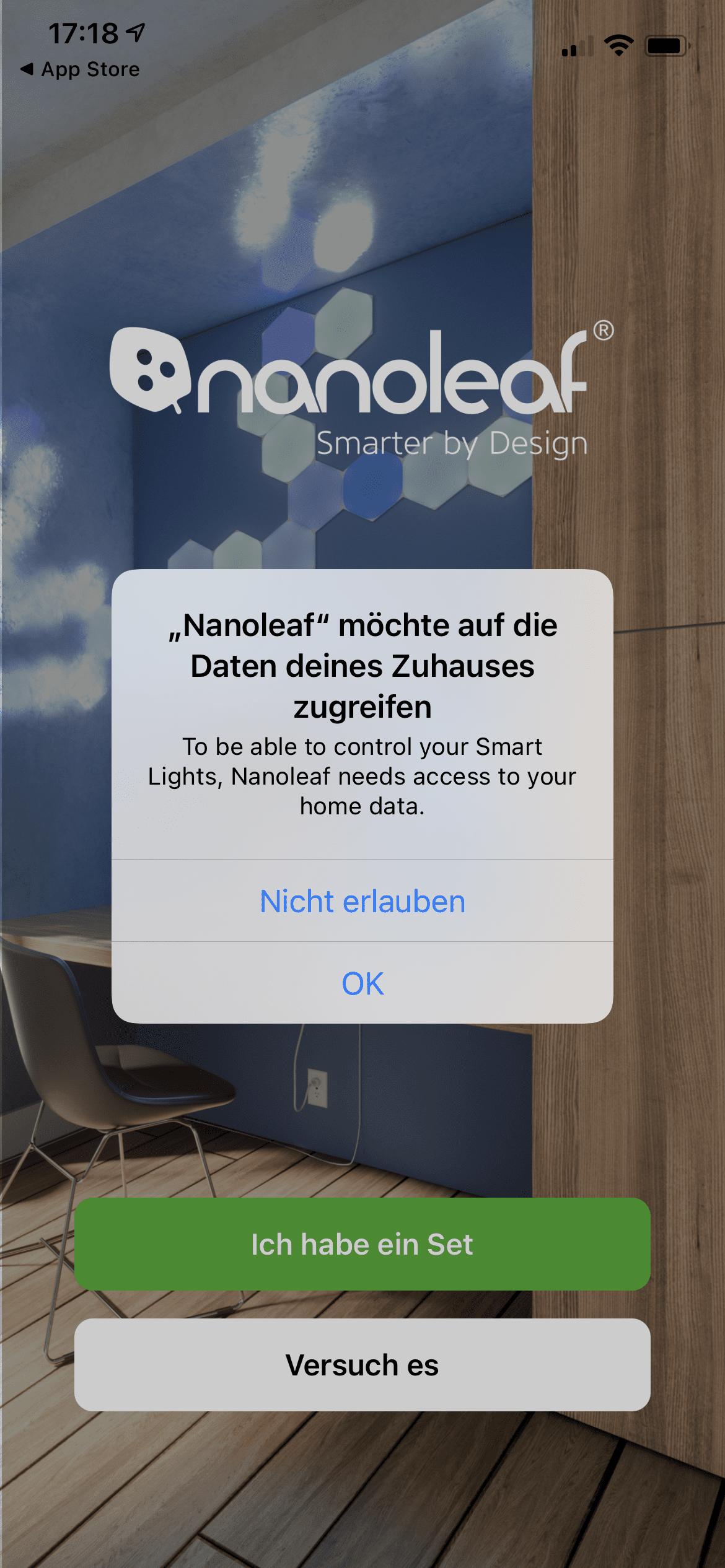 Nanoleaf App HomeKit Zugriff