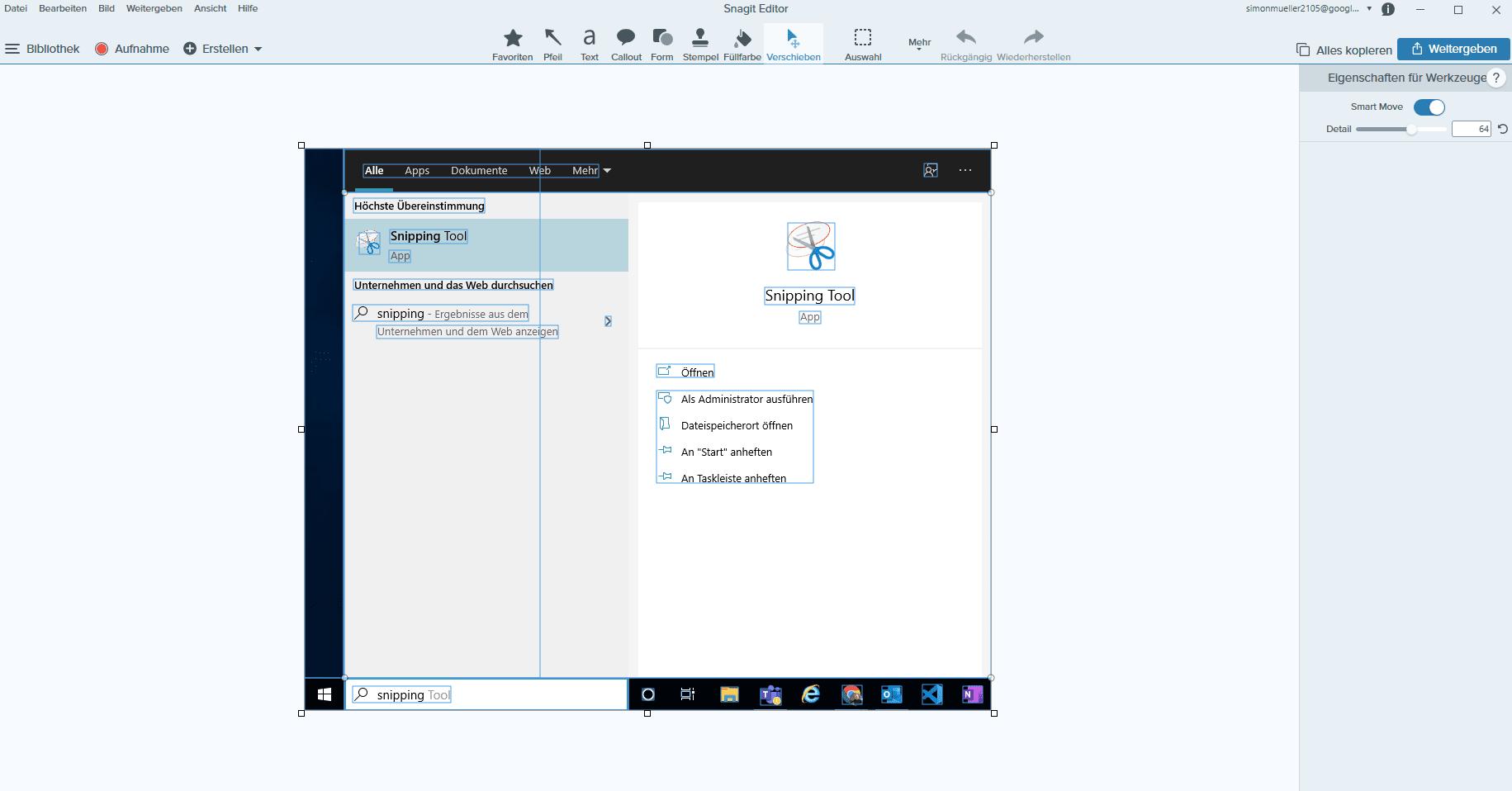 Screenshot Elemente verschieben mit Smart Move