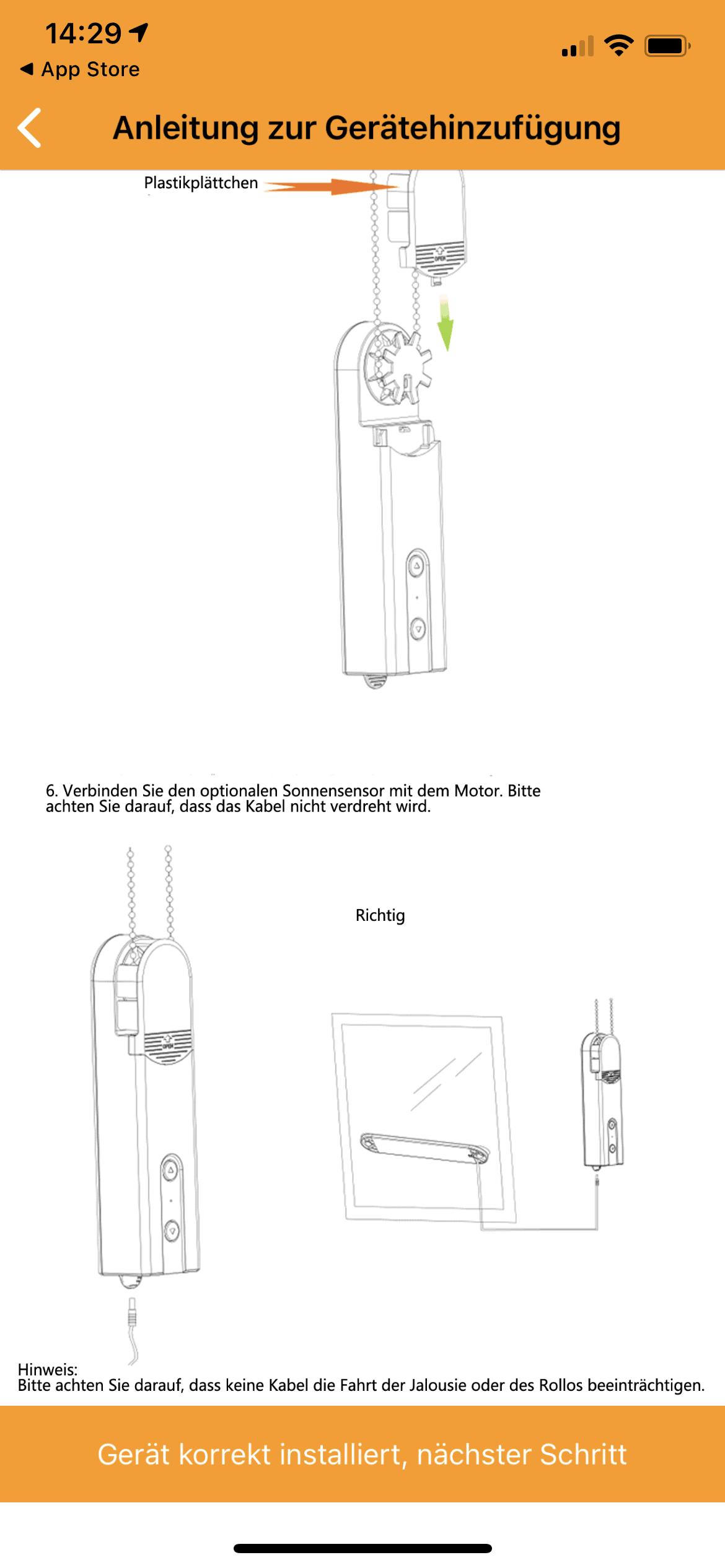 Begrüsungsbildschirm zum einrichten des Rolle Seilzug Motors