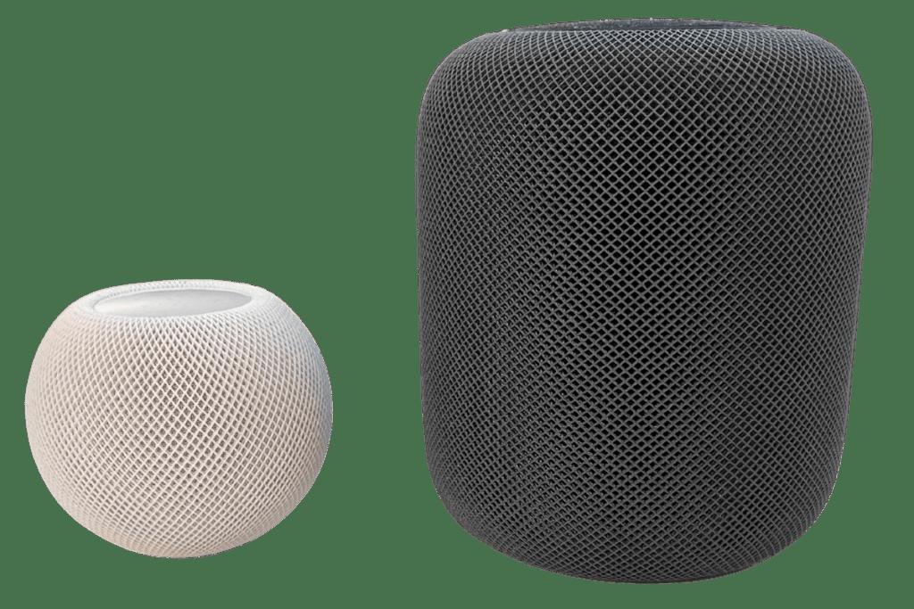 Größenvergleich HomePod Mini und HomePod