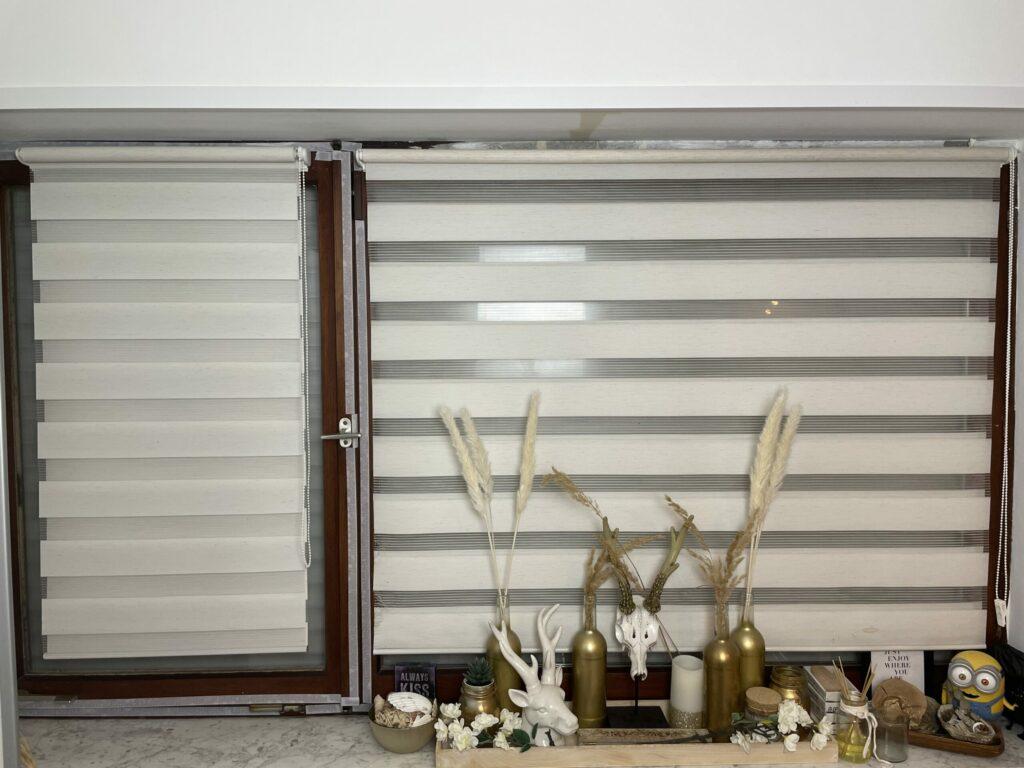 Schlafzimmer Doppelfenster mit Klemmfix-Rollos für Innen