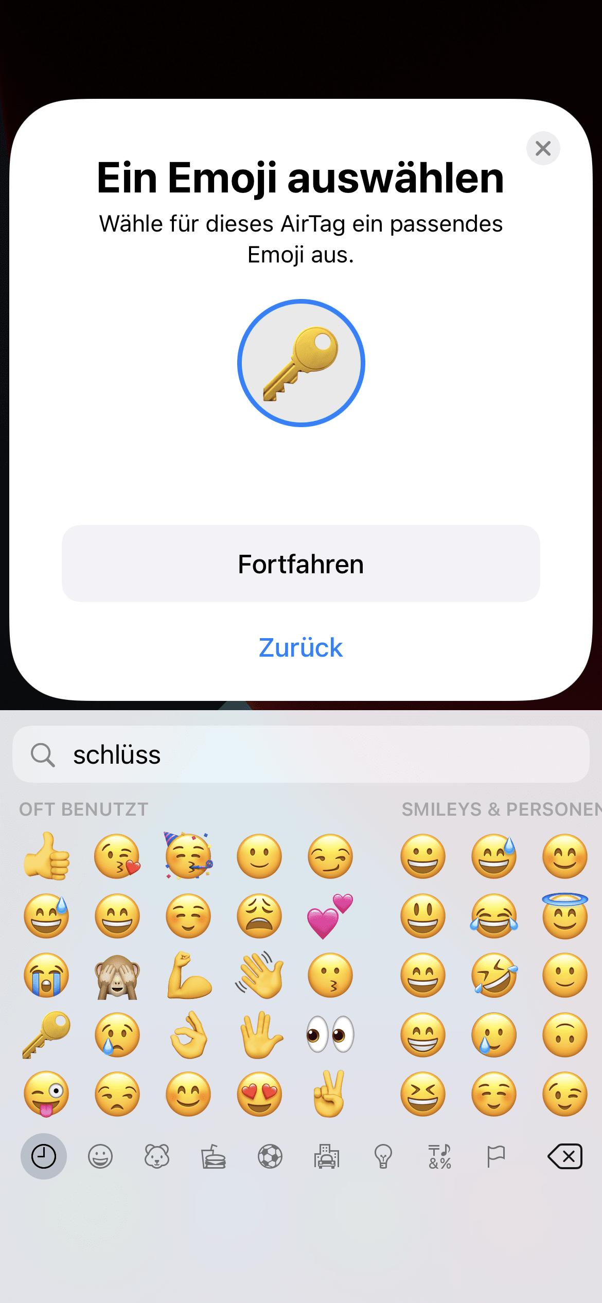 AirTag Emoji auswählen