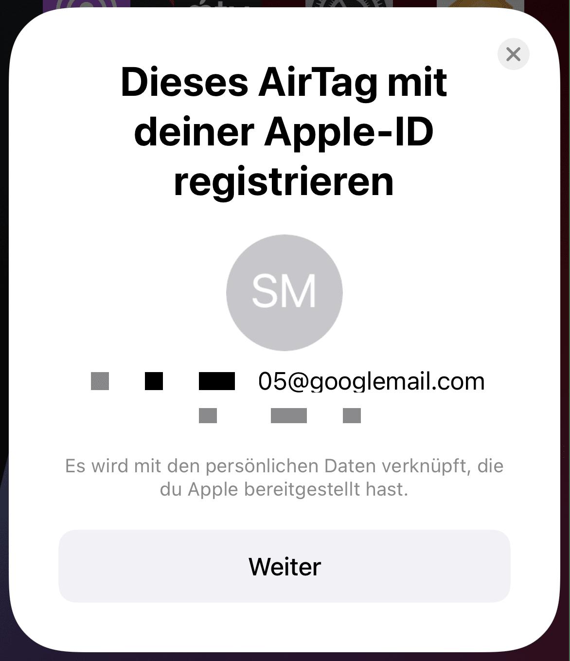 AirTag mit Apple ID registrieren