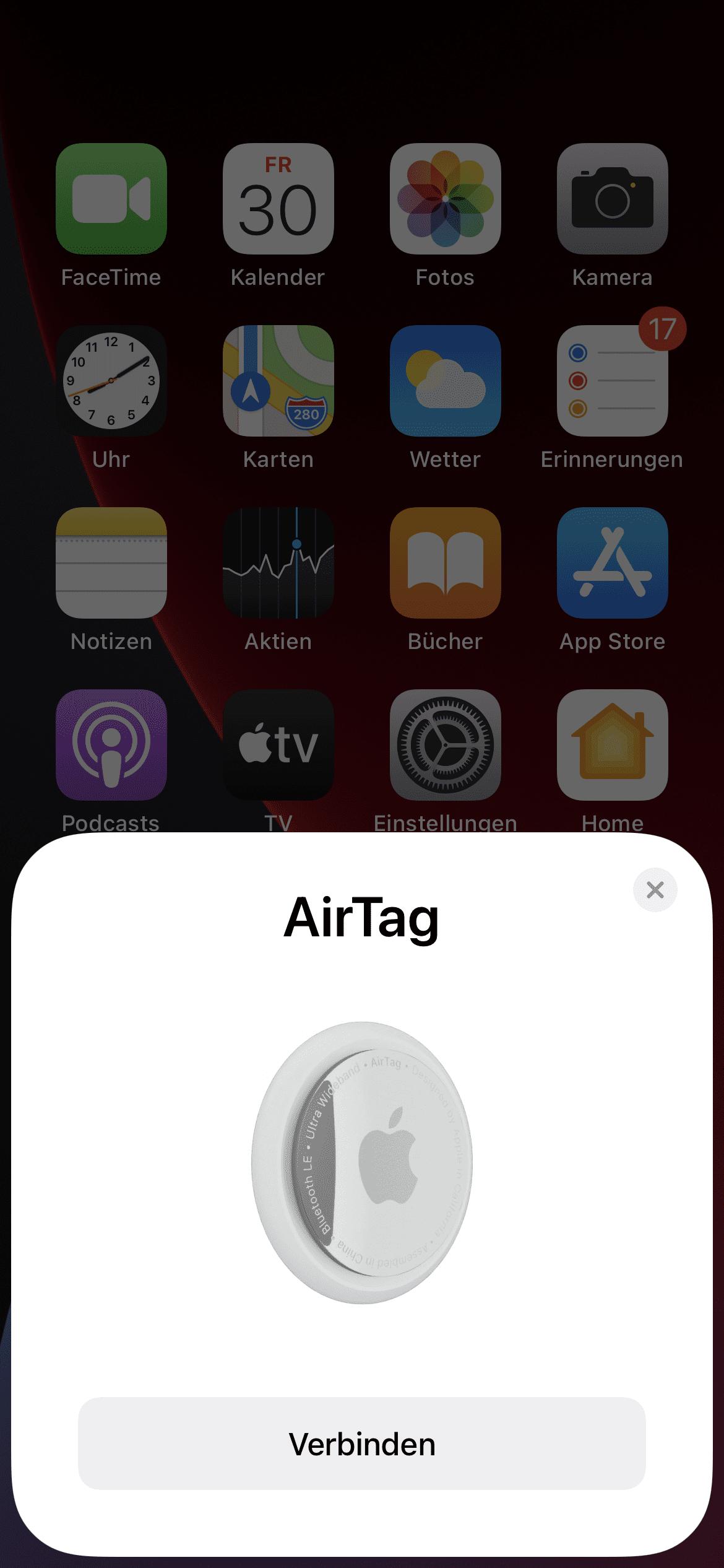 AirTag verbinden auf iPhone