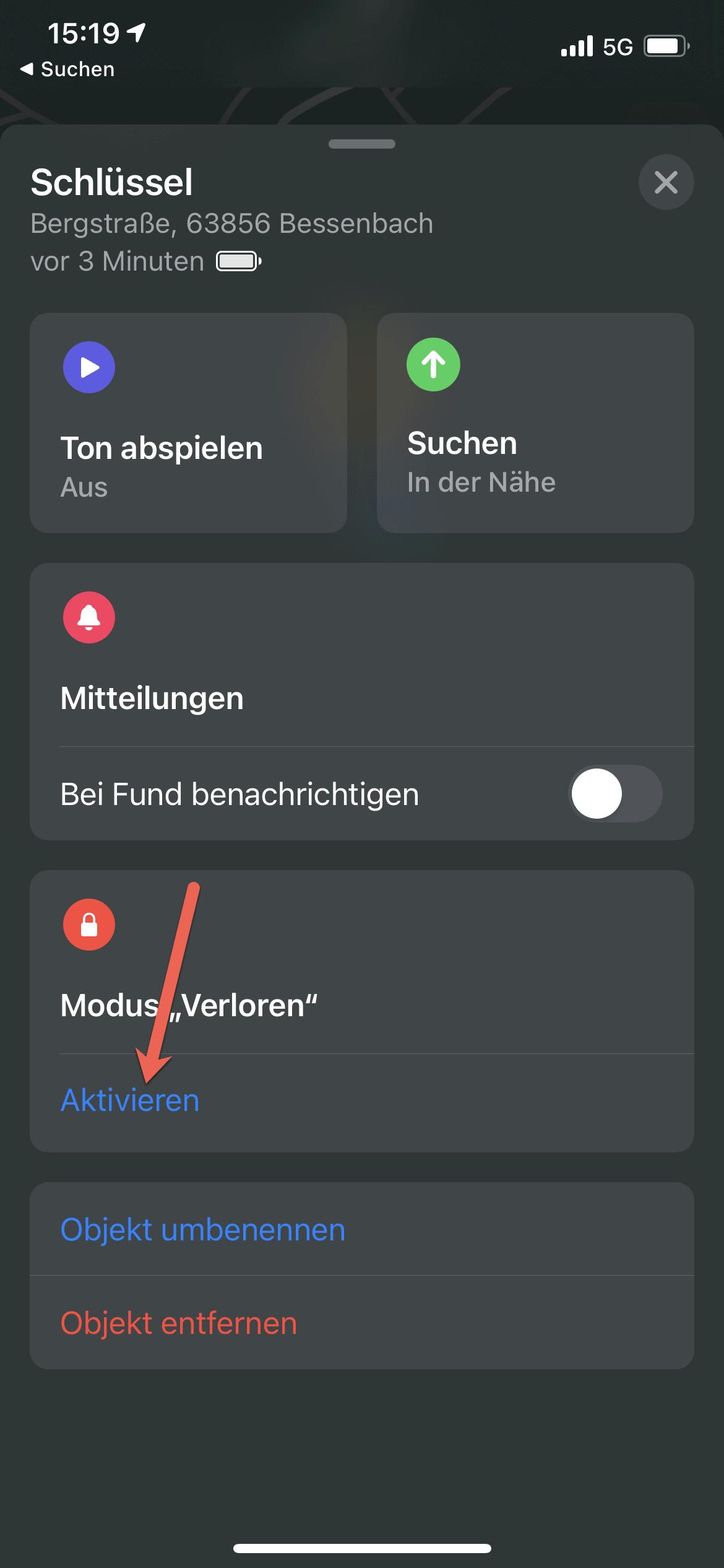AirTag verloren modus aktivieren